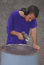 Making Steel Pan Step 1 - Sinking